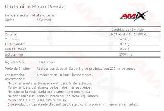 tabla-glutamine-Micro-powder-amix
